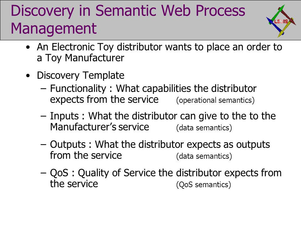 Discovery in Semantic Web Process Management An Electronic Toy distributor wants to place an order to a Toy Manufacturer Discovery Template –Functionality : What capabilities the distributor expects from the service (operational semantics) –Inputs : What the distributor can give to the to the Manufacturer's service (data semantics) –Outputs : What the distributor expects as outputs from the service (data semantics) –QoS : Quality of Service the distributor expects from the service (QoS semantics)