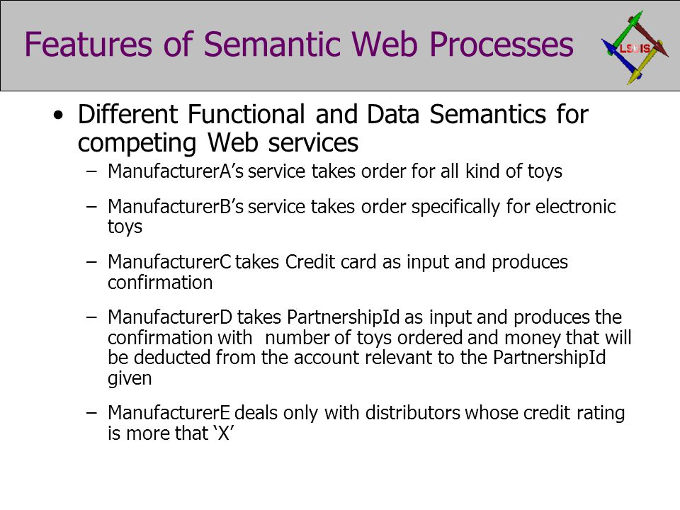 Features of Semantic Web Processes Different Functional and Data Semantics for competing Web services –ManufacturerA's service takes order for all kind of toys –ManufacturerB's service takes order specifically for electronic toys –ManufacturerC takes Credit card as input and produces confirmation –ManufacturerD takes PartnershipId as input and produces the confirmation with number of toys ordered and money that will be deducted from the account relevant to the PartnershipId given –ManufacturerE deals only with distributors whose credit rating is more that 'X'