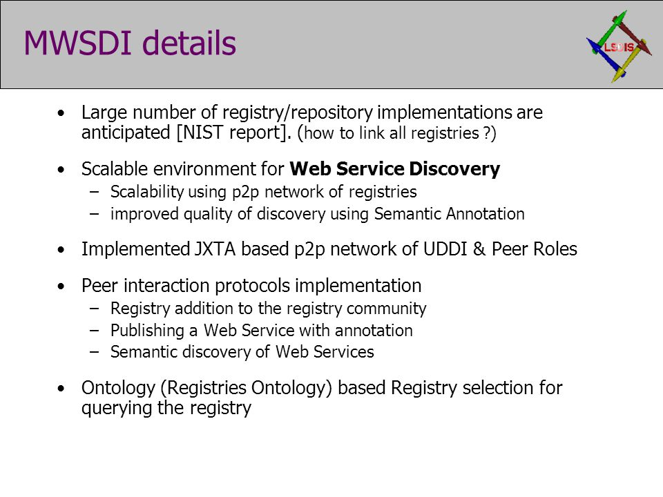 MWSDI details Large number of registry/repository implementations are anticipated [NIST report].