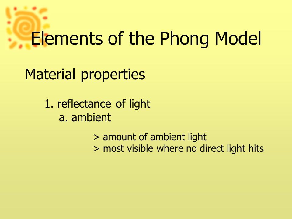 Elements of the Phong Model Material properties 1.