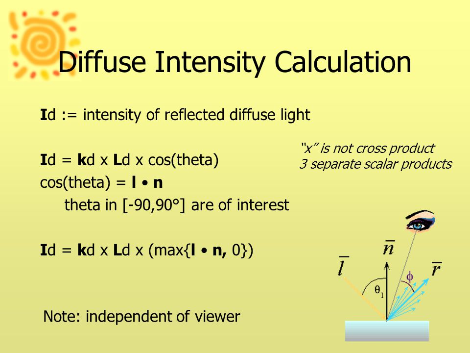 Diffuse Intensity Calculation Id := intensity of reflected diffuse light Id = kd x Ld x cos(theta) cos(theta) = l n theta in [-90,90°] are of interest Id = kd x Ld x (max{l n, 0}) x is not cross product 3 separate scalar products Note: independent of viewer