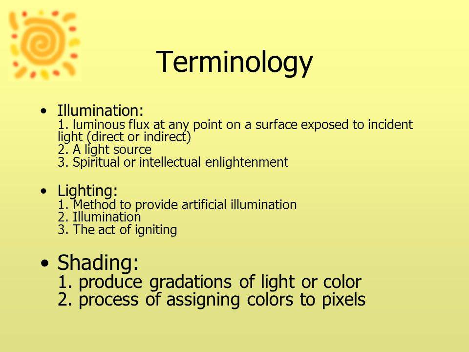 Terminology Illumination: 1.