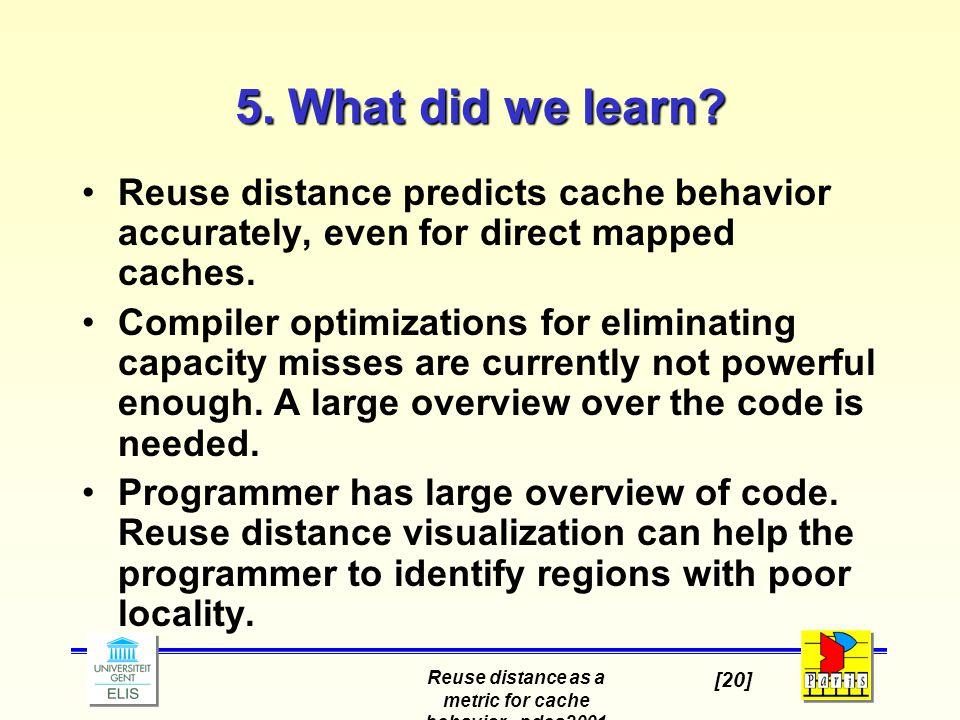 Reuse distance as a metric for cache behavior - pdcs2001 [20] 5.