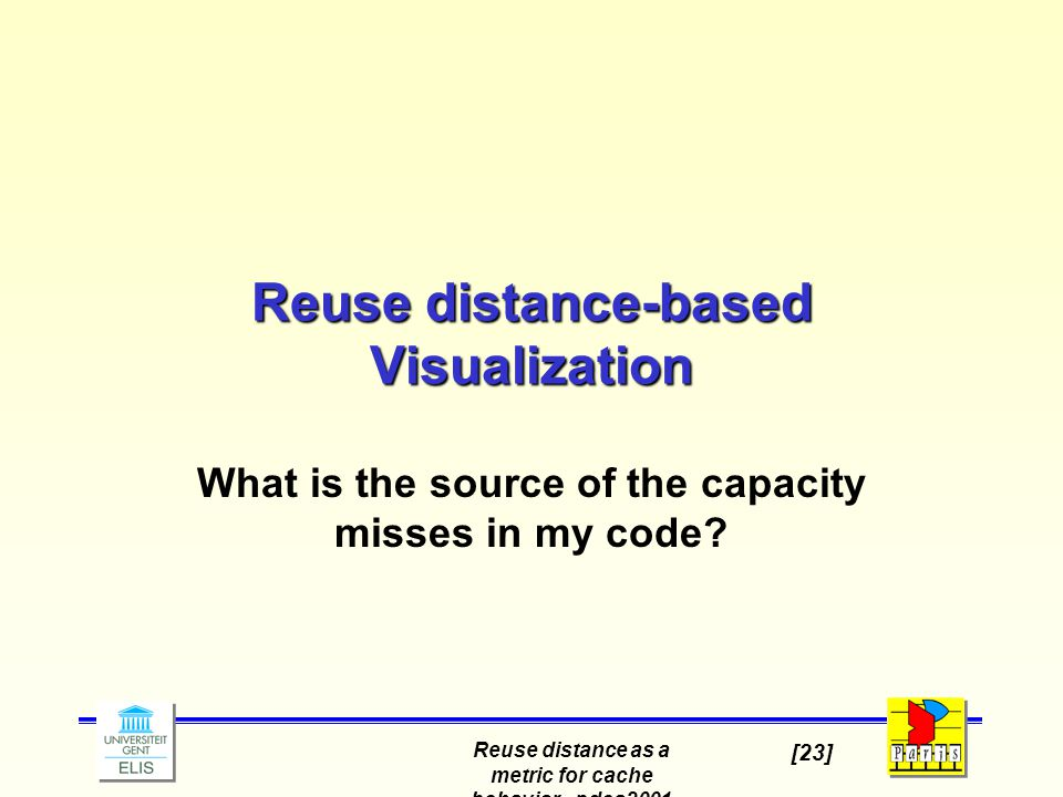 Reuse distance as a metric for cache behavior - pdcs2001 [23] Reuse distance-based Visualization What is the source of the capacity misses in my code