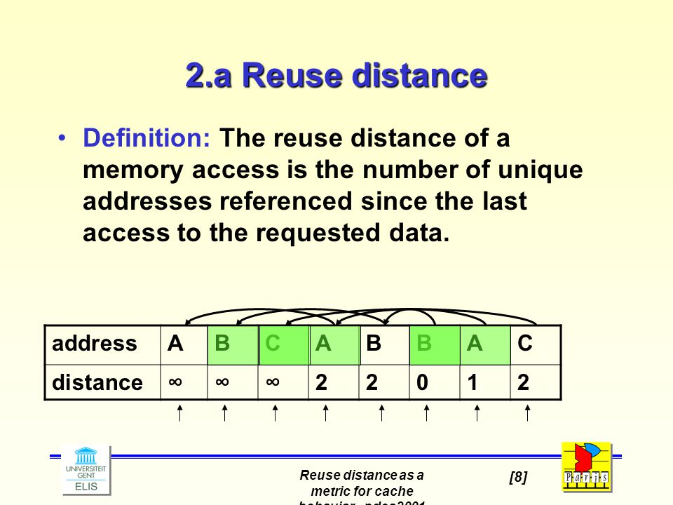 Reuse distance as a metric for cache behavior - pdcs2001 [8] 2.a Reuse distance Definition: The reuse distance of a memory access is the number of unique addresses referenced since the last access to the requested data.