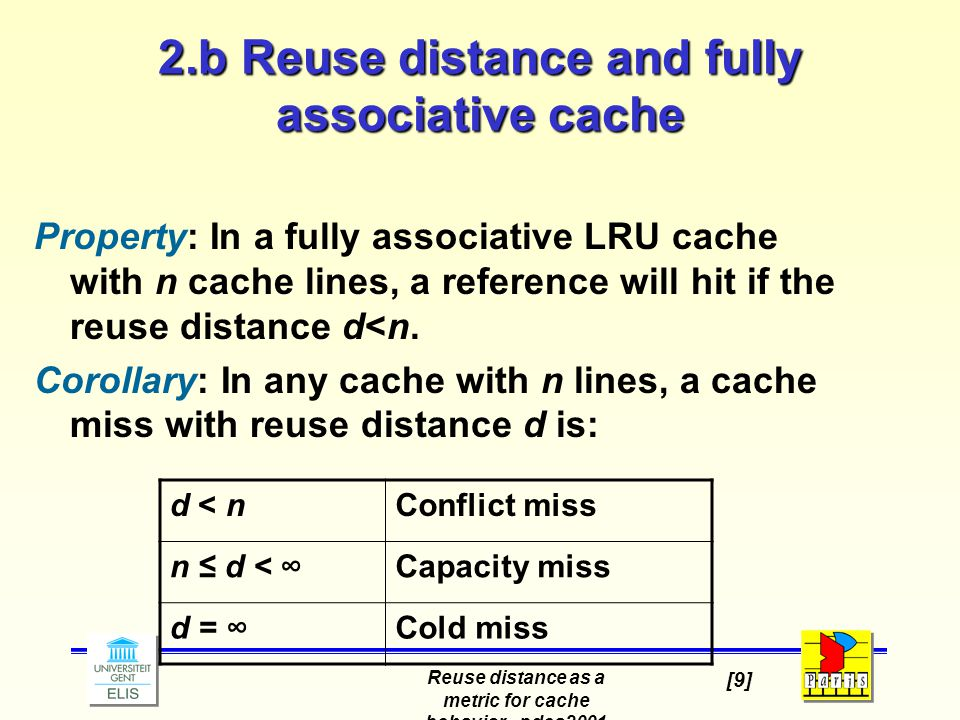 Reuse distance as a metric for cache behavior - pdcs2001 [9] 2.b Reuse distance and fully associative cache Property: In a fully associative LRU cache with n cache lines, a reference will hit if the reuse distance d<n.