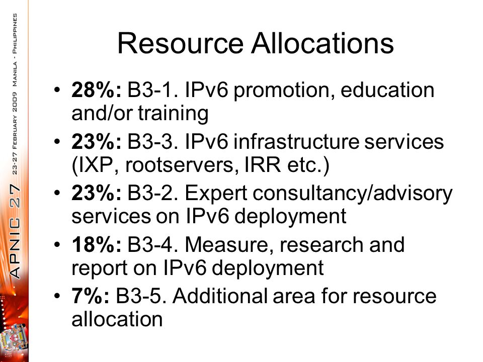 Resource Allocations 28%: B3-1. IPv6 promotion, education and/or training 23%: B3-3.