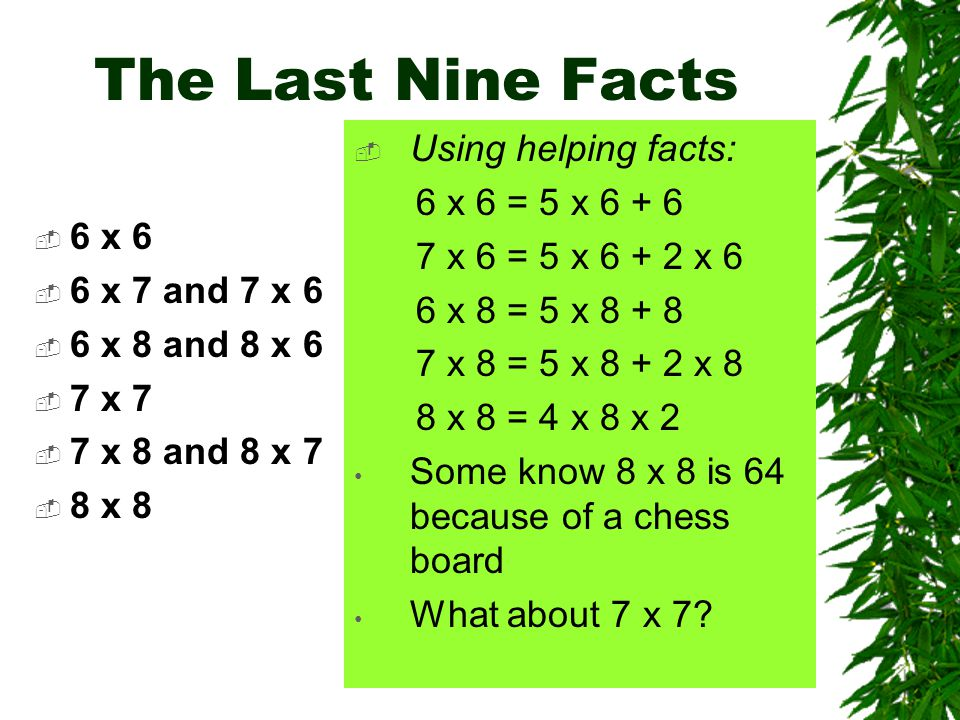The Last Nine Facts  6 x 6  6 x 7 and 7 x 6  6 x 8 and 8 x 6  7 x 7  7 x 8 and 8 x 7  8 x 8  Using helping facts: 6 x 6 = 5 x 6 + 6 7 x 6 = 5 x 6 + 2 x 6 6 x 8 = 5 x 8 + 8 7 x 8 = 5 x 8 + 2 x 8 8 x 8 = 4 x 8 x 2 Some know 8 x 8 is 64 because of a chess board What about 7 x 7