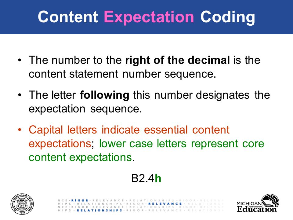 Content Expectation Coding The number to the right of the decimal is the content statement number sequence.