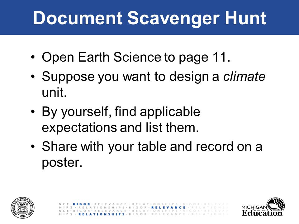 Document Scavenger Hunt Open Earth Science to page 11.