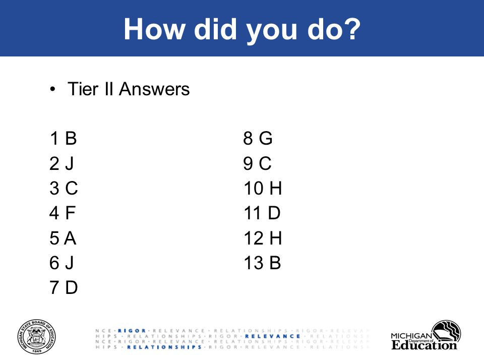 How did you do Tier II Answers 1 B8 G 2 J9 C 3 C10 H 4 F11 D 5 A12 H 6 J13 B 7 D