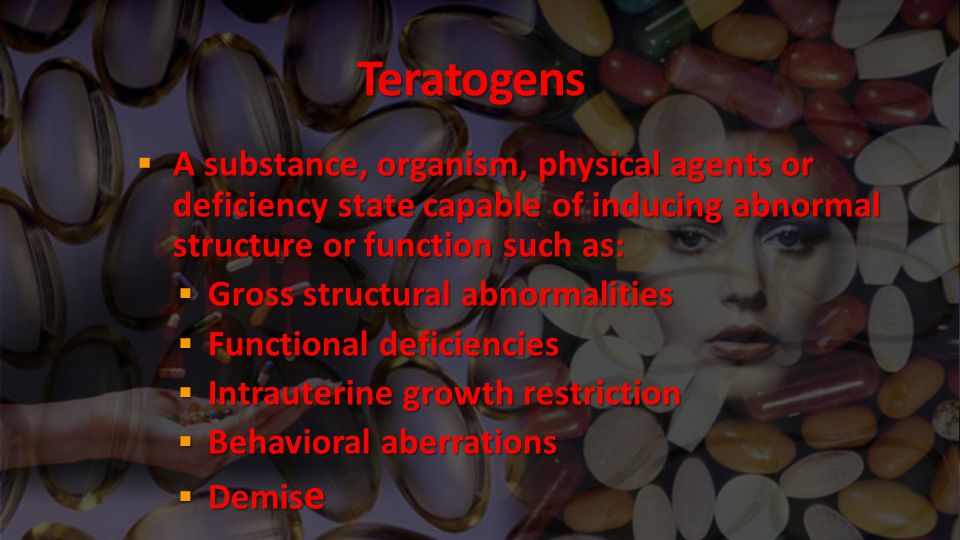 Some common teratogenic medications include:  Folicacid antagonists(eg, trimethoprim, triamterene, car bamazepine, phenytoin, phenobarbital, primidone, met hotrexate) increase the risk of neural-tube defects and possibly cardiovascular defects, oral clefts, and urinary tract defects and placenta-mediated adverse pregnancy outcomes, including preeclampsia, placental abruption, fetal growth restriction, and fetal death.