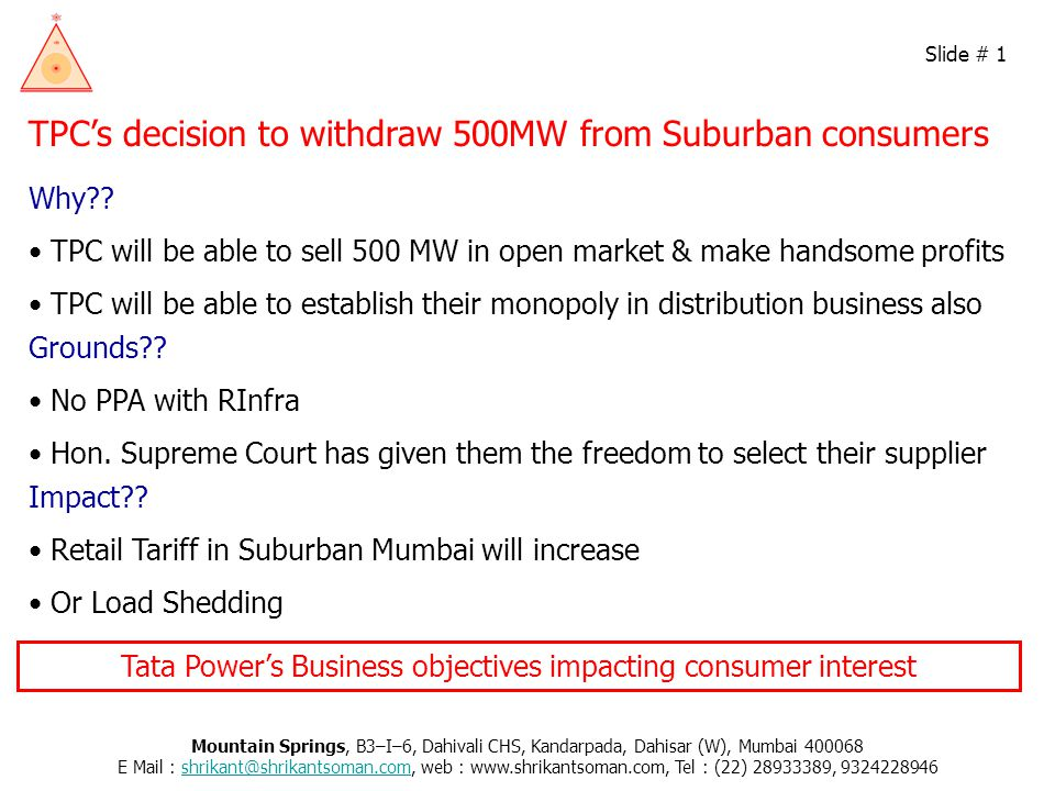 TPC's decision to withdraw 500MW from Suburban consumers Why .