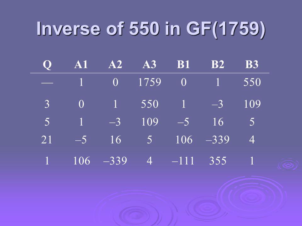 Inverse of 550 in GF(1759) QA1A2A3B1B2B3 —10175901550 301 1–3109 51–3109–5165 21–5165106–3394 1106–3394–1113551