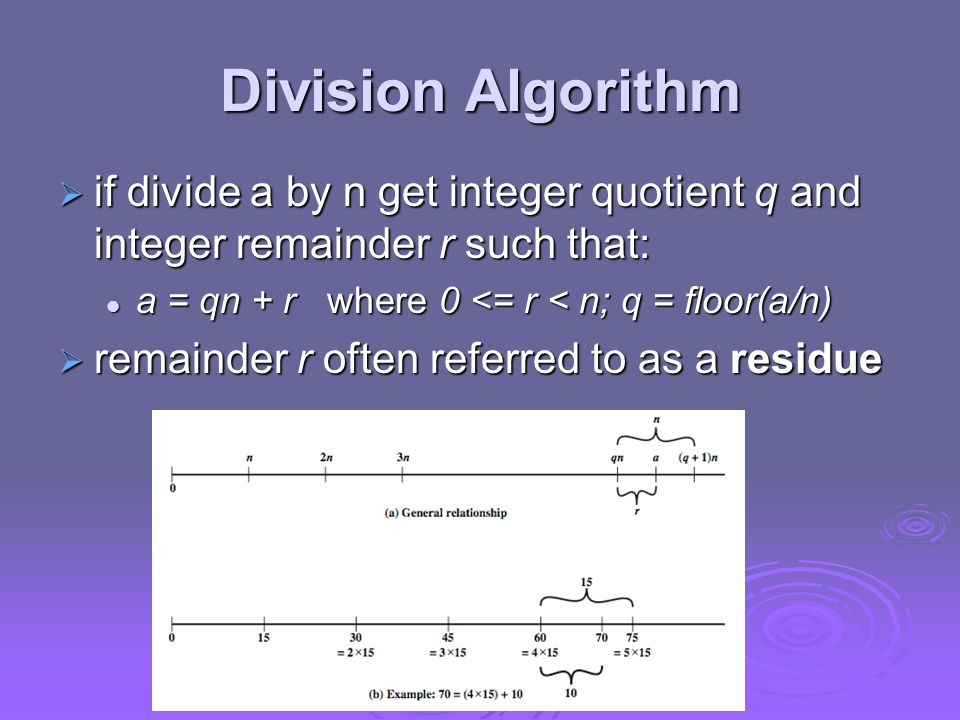 Division Algorithm  if divide a by n get integer quotient q and integer remainder r such that: a = qn + r where 0 <= r < n; q = floor(a/n) a = qn + r where 0 <= r < n; q = floor(a/n)  remainder r often referred to as a residue