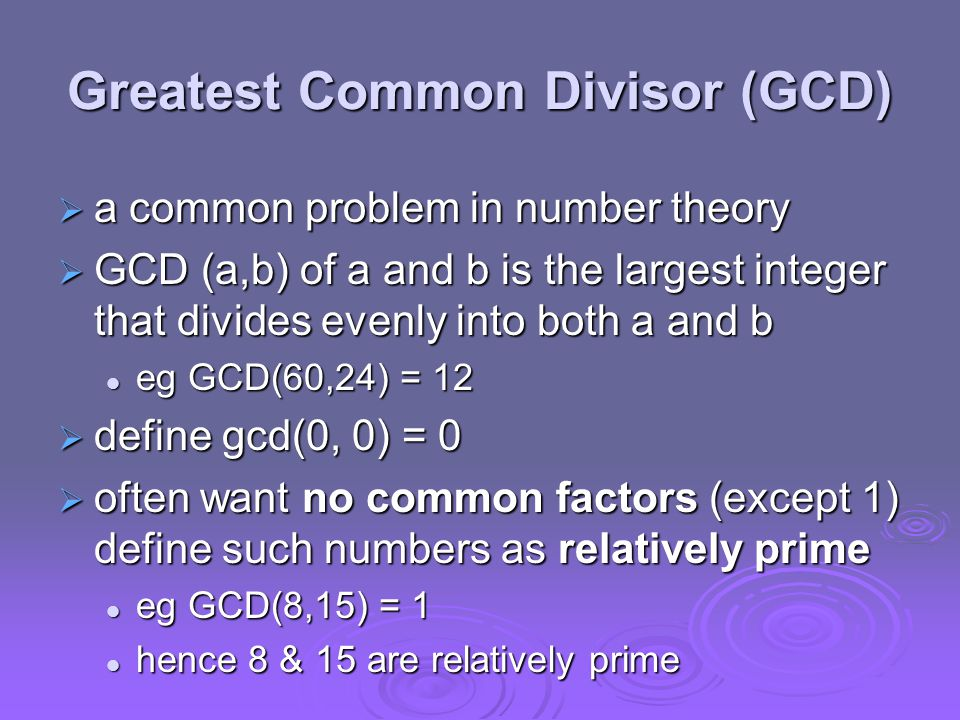 Summary  have considered: divisibility & GCD divisibility & GCD modular arithmetic with integers modular arithmetic with integers concept of groups, rings, fields concept of groups, rings, fields Euclid's algorithm for GCD & Inverse Euclid's algorithm for GCD & Inverse finite fields GF(p) finite fields GF(p) polynomial arithmetic in general and in GF(2 n ) polynomial arithmetic in general and in GF(2 n )