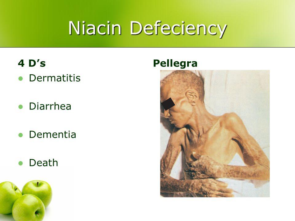 Niacin Defeciency 4 D's Dermatitis Diarrhea Dementia Death Pellegra