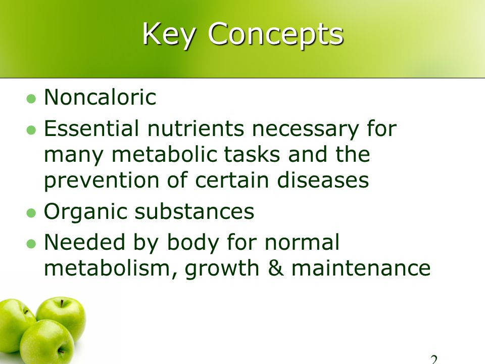 Key Concepts Vitamins do not provide energy Vitamins work as coenzymes to activate other enzymes in the body
