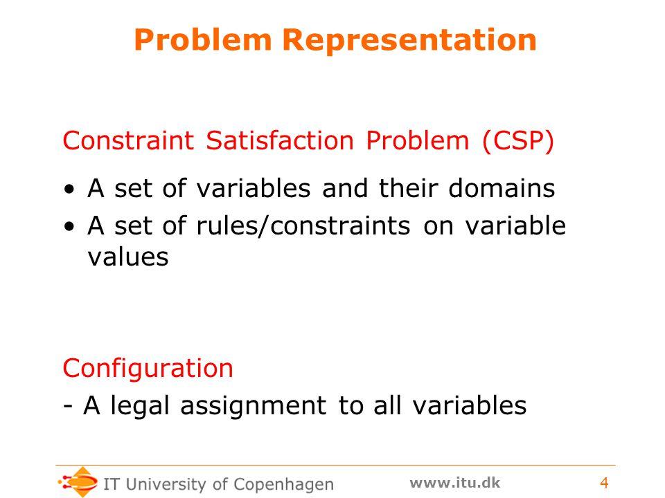 www.itu.dk 4 Problem Representation Constraint Satisfaction Problem (CSP) A set of variables and their domains A set of rules/constraints on variable values Configuration - A legal assignment to all variables