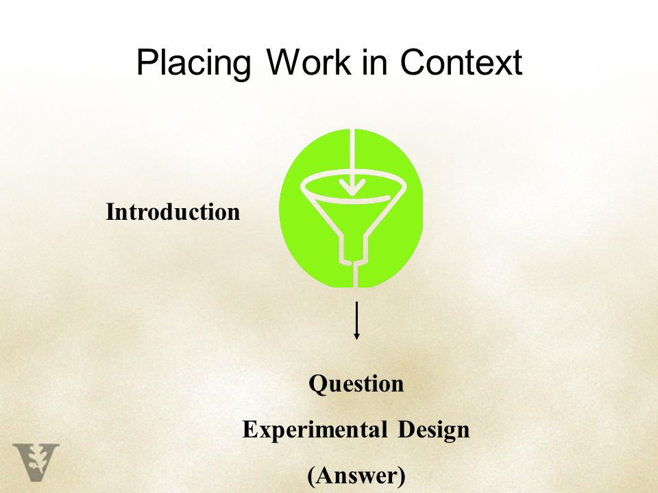 Placing Work in Context Question Experimental Design (Answer) Introduction