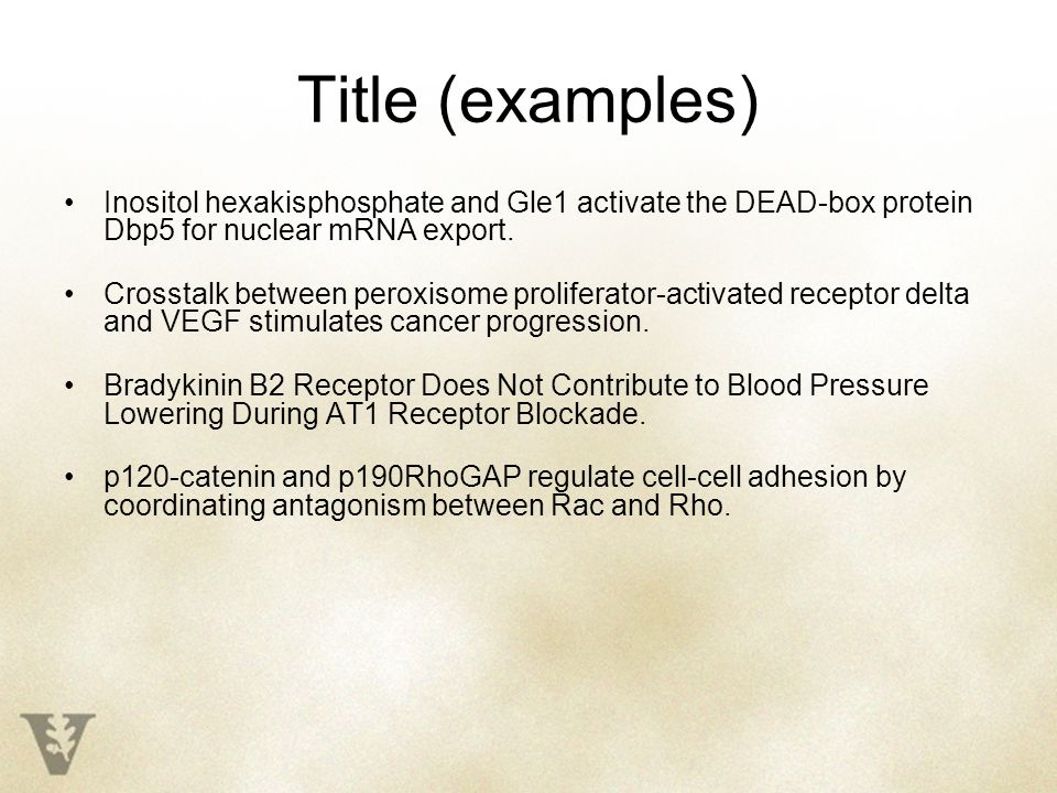 Title (examples) Inositol hexakisphosphate and Gle1 activate the DEAD-box protein Dbp5 for nuclear mRNA export.