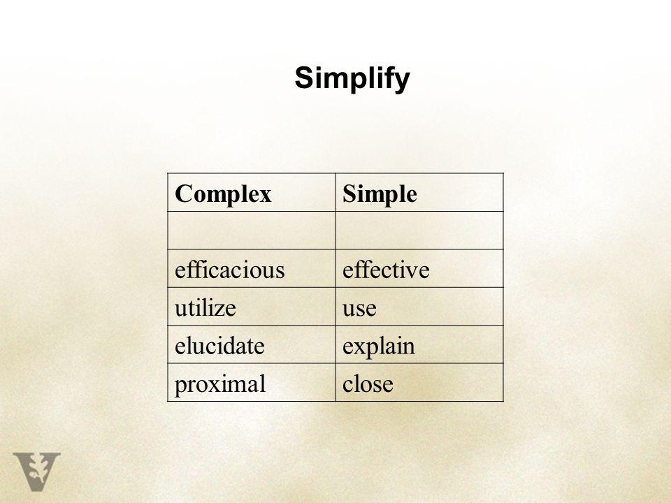 ComplexSimple efficaciouseffective utilizeuse elucidateexplain proximalclose Simplify
