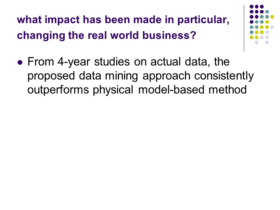 what impact has been made in particular, changing the real world business? From 4-year studies on actual data, the proposed data mining approach consi