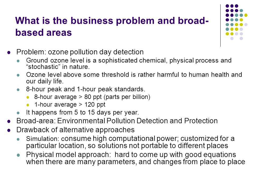 What is the business problem and broad- based areas Problem: ozone pollution day detection Ground ozone level is a sophisticated chemical, physical pr