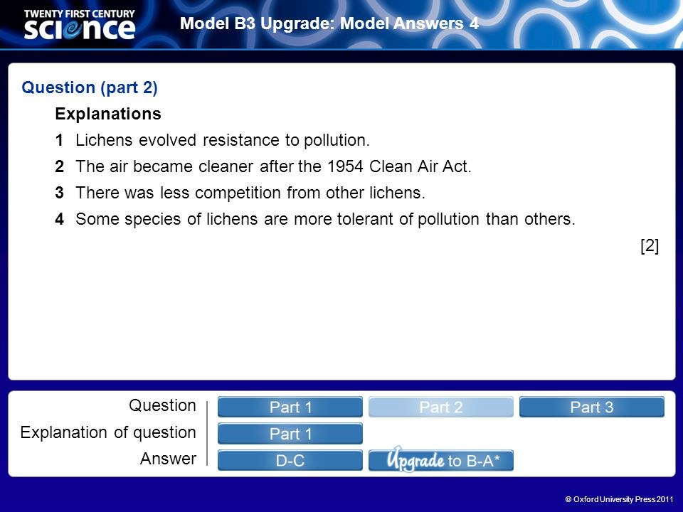 © Oxford University Press 2011 Model B3 Upgrade: Model Answers 4 Question Explanation of question Answer Question (part 2) Explanations 1Lichens evolved resistance to pollution.
