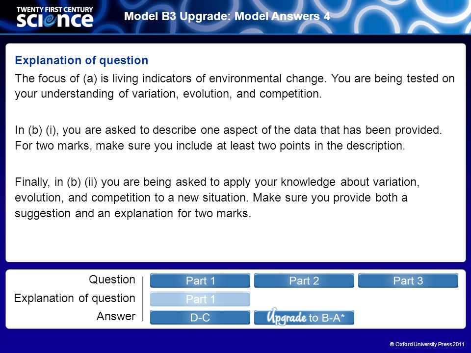 © Oxford University Press 2011 Model B3 Upgrade: Model Answers 4 Question Explanation of question Answer Explanation of question The focus of (a) is living indicators of environmental change.