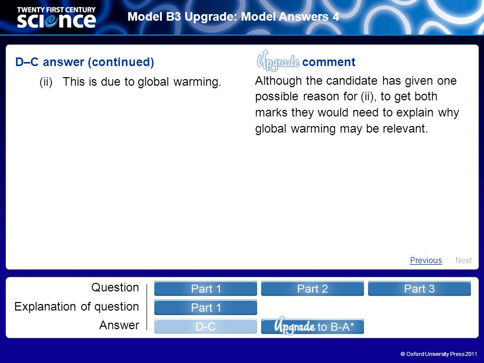 © Oxford University Press 2011 Model B3 Upgrade: Model Answers 4 Question Explanation of question Answer D–C answer (continued) (ii)This is due to global warming.