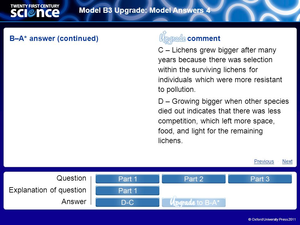 © Oxford University Press 2011 Model B3 Upgrade: Model Answers 4 Question Explanation of question Answer B–A* answer (continued) comment C – Lichens grew bigger after many years because there was selection within the surviving lichens for individuals which were more resistant to pollution.