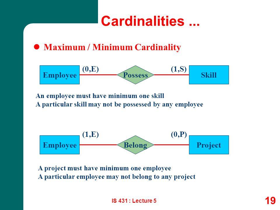 IS 431 : Lecture 5 19 Cardinalities... Maximum / Minimum Cardinality EmployeeSkillPossess (0,E)(1,S) EmployeeProjectBelong (1,E)(0,P) An employee must