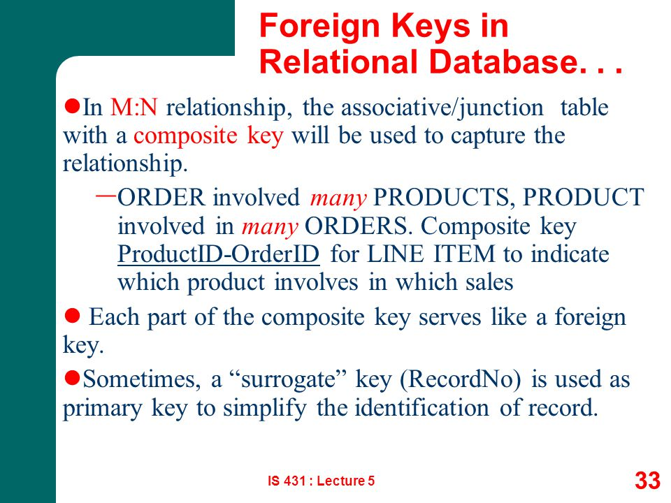 IS 431 : Lecture 5 33 Foreign Keys in Relational Database... In M:N relationship, the associative/junction table with a composite key will be used to