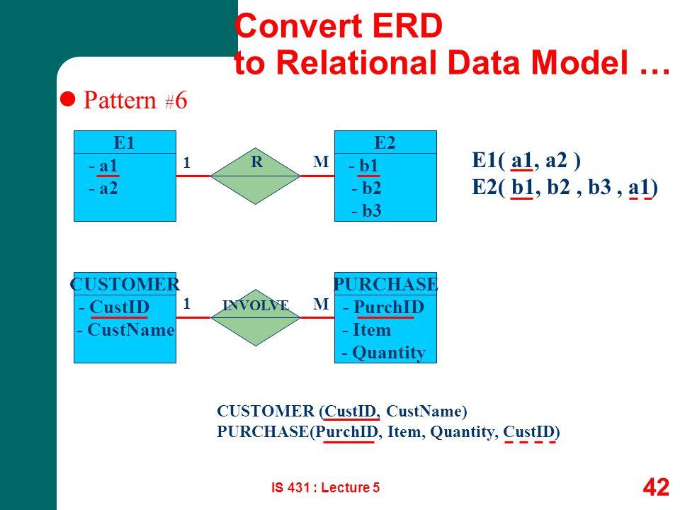 IS 431 : Lecture 5 42 Pattern # 6 E1 - a1 - a2 E1( a1, a2 ) E2( b1, b2, b3, a1) R 1 M E2 - b1 - b2 - b3 CUSTOMER - CustID - CustName PURCHASE - PurchI