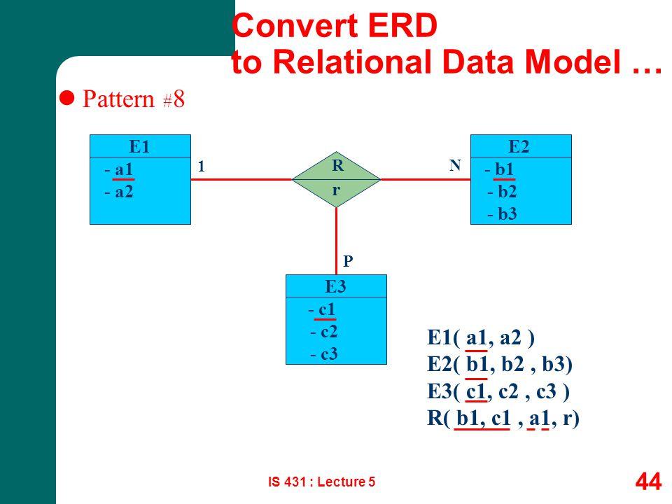IS 431 : Lecture 5 44 Pattern # 8 E1 - a1 - a2 E1( a1, a2 ) E2( b1, b2, b3) E3( c1, c2, c3 ) R( b1, c1, a1, r) R 1 N E2 - b1 - b2 - b3 E3 - c1 - c2 -
