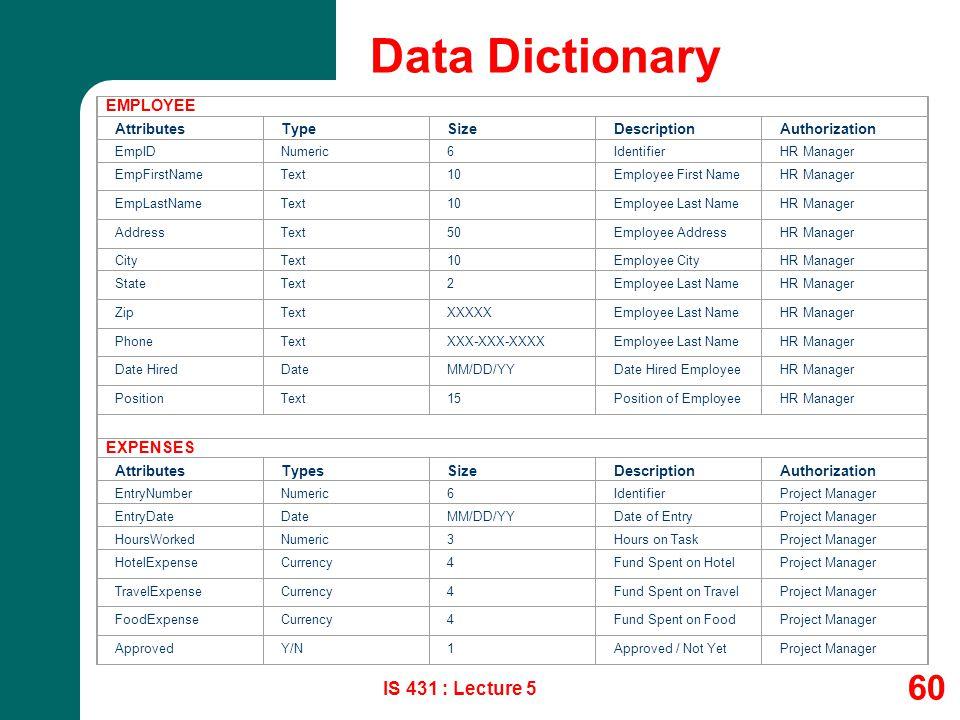 IS 431 : Lecture 5 60 Data Dictionary EMPLOYEE AttributesTypeSizeDescriptionAuthorization EmpIDNumeric6IdentifierHR Manager EmpFirstNameText10Employee