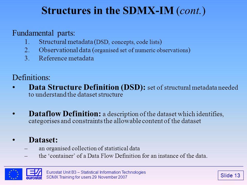 Slide 13 Eurostat Unit B3 – Statistical Information Technologies SDMX Training for users 29 November 2007 Structures in the SDMX-IM (cont.) Fundamenta