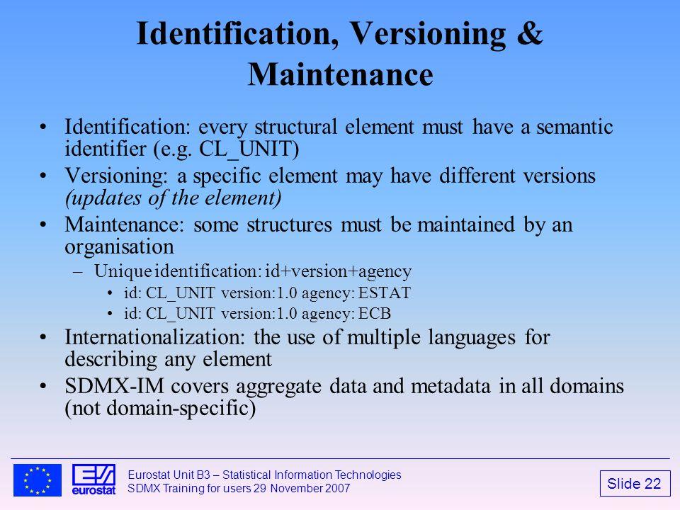 Slide 22 Eurostat Unit B3 – Statistical Information Technologies SDMX Training for users 29 November 2007 Identification, Versioning & Maintenance Ide