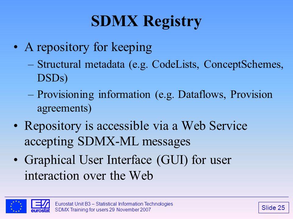 Slide 25 Eurostat Unit B3 – Statistical Information Technologies SDMX Training for users 29 November 2007 SDMX Registry A repository for keeping –Stru
