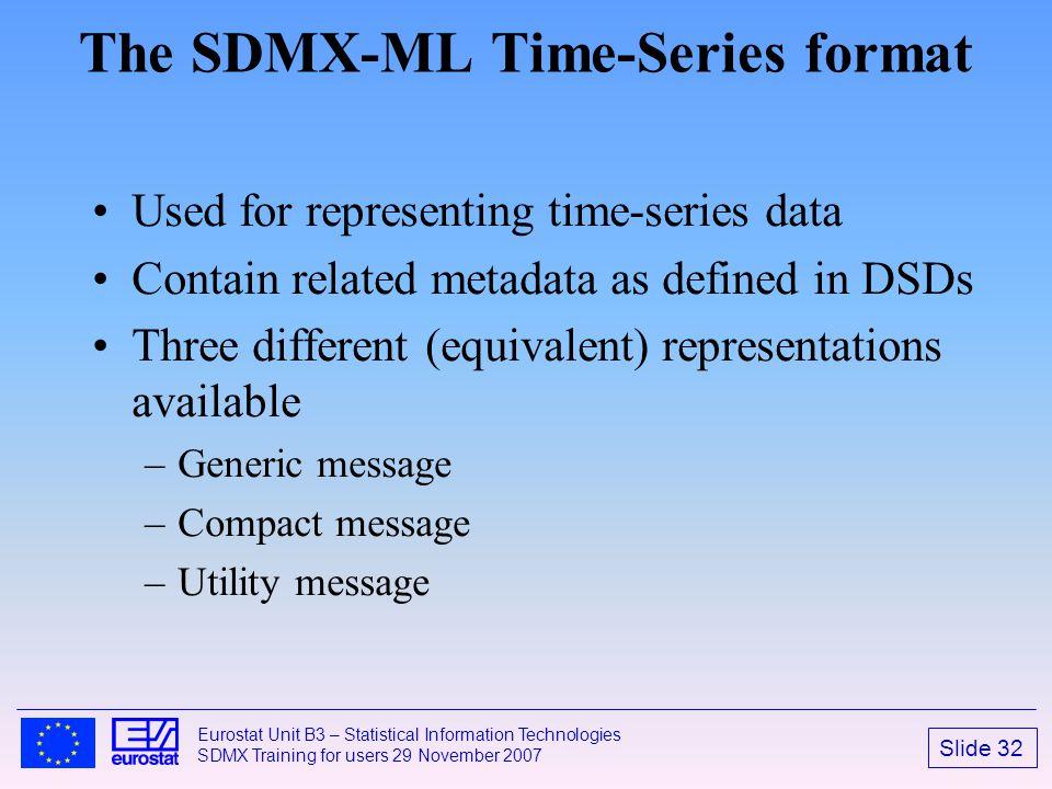 Slide 32 Eurostat Unit B3 – Statistical Information Technologies SDMX Training for users 29 November 2007 The SDMX-ML Time-Series format Used for repr
