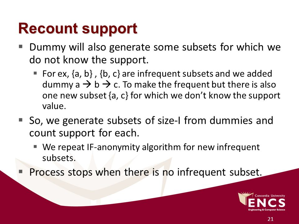 21 Recount support  Dummy will also generate some subsets for which we do not know the support.