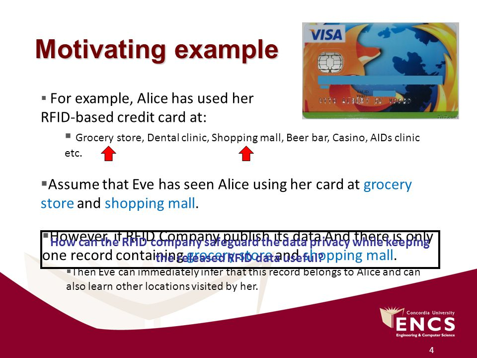 4 Motivating example  For example, Alice has used her RFID-based credit card at:  Grocery store, Dental clinic, Shopping mall, Beer bar, Casino, AIDs clinic etc.