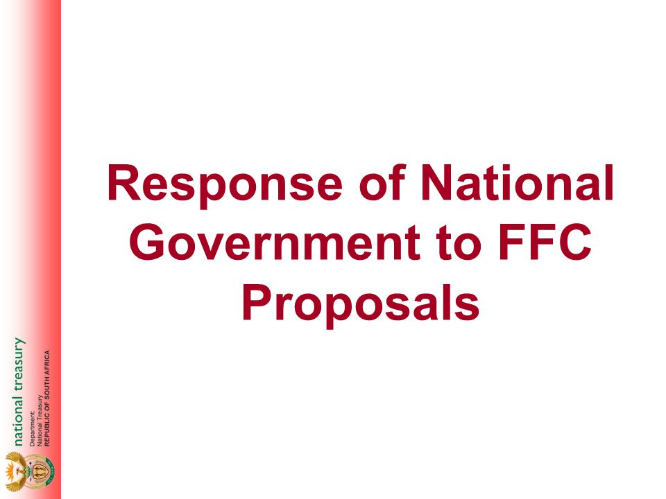 Response of National Government to FFC Proposals