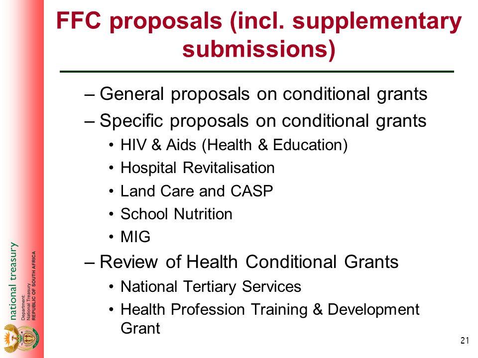 21 FFC proposals (incl.