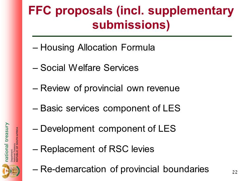 22 FFC proposals (incl.