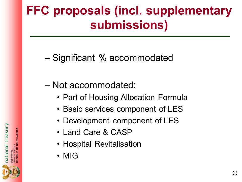 23 FFC proposals (incl.