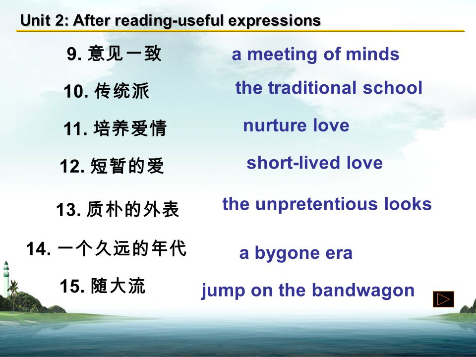Unit 2: After reading-useful expressions 1. 难以名状 defy definition 2. 大胆的想法 adventurous thoughts 3. 异性 the opposite gender 4. 长期计划 a long-term plan 5. 或