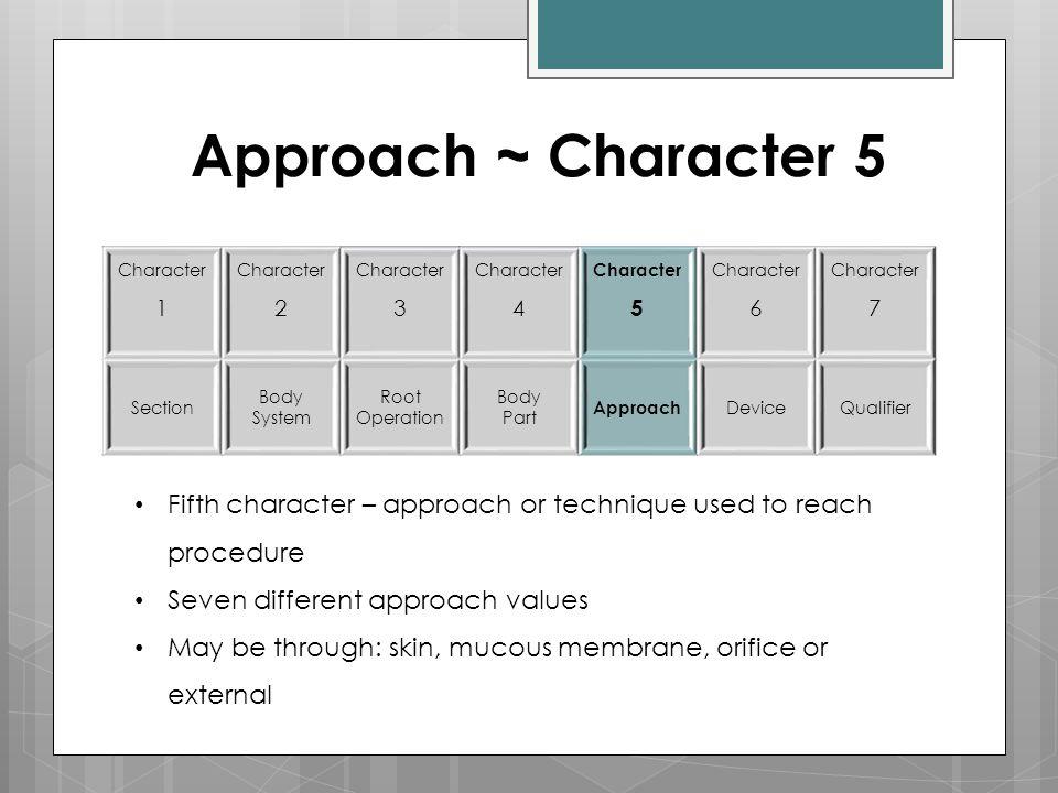 Approach ~ Character 5 Character 1 Character 2 Character 3 Character 4 Character 5 Character 6 Character 7 Section Body System Root Operation Body Par