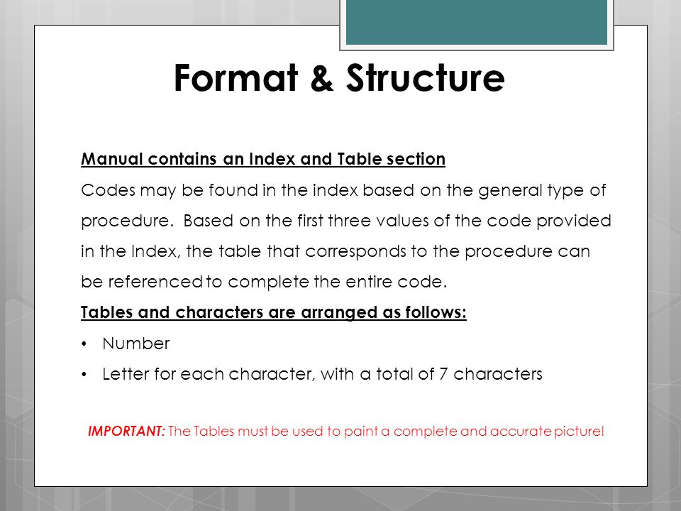 Format & Structure Manual contains an Index and Table section Codes may be found in the index based on the general type of procedure. Based on the fir